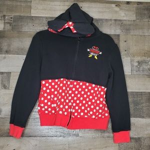 Disney Parks Minnie Mouse Ears Zip Up Hoodie L